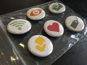Cute lil collectible buttons. Thanks, backers, for giving me a reason to make these!