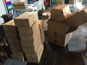 The studio became a disaster area during fulfillment. If I was doing this at home, my cat would've peed in every one of those boxes.